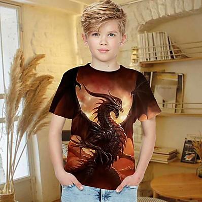 cheap Kids-Kids Boys' T shirt Short Sleeve 3D Print Dragon Brown Children Tops Summer Active Regular Fit 4-12 Years