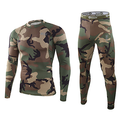 cheap Hunting & Nature-Men's Running Base Layer Baselayer Set Outdoor Autumn / Fall Spring Fleece Lining Warm Breathable Comfortable Clothing Suit Camo Polyester Camping / Hiking Hunting Fishing CP black CL camouflage