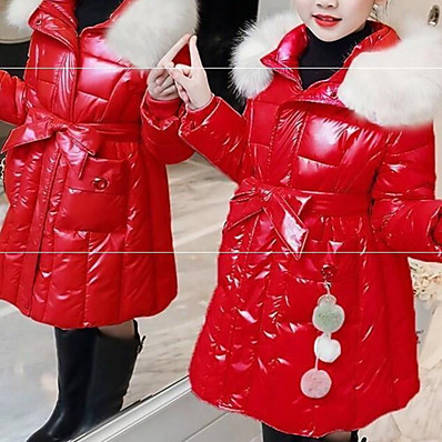 cheap Kids-Kid's Girls' Jacket & Coat Big red Blushing Pink Black Fur Trim Solid Color Cotton Glossy Cute 2-6 Years / Winter
