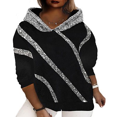 cheap Knit Tops-Women's Plus Size Tops Hoodie Sweatshirt Graphic Long Sleeve Basic Fall Winter Gray Black Big Size L XL 2XL 3XL