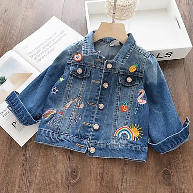 cheap Kids-Kids Girls' Jacket Coat Long Sleeve Blue Embroidered Rainbow Unicorn Street School Adorable 3-8 Years