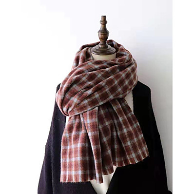 cheap Accessories-Women's Women's Shawls & Wraps Red Christmas Scarf Plaid