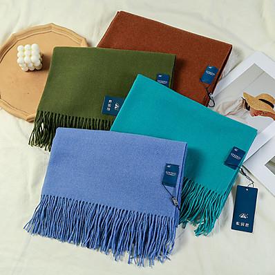 cheap Accessories-Women's Women's Shawls & Wraps Black Christmas Scarf Pure Color