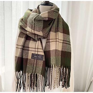 cheap Accessories-Women's Women's Shawls & Wraps Camel Christmas Scarf Plaid