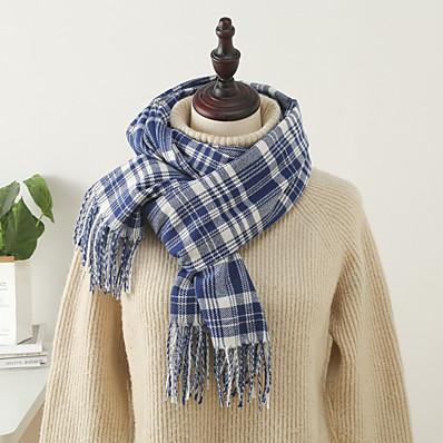 cheap Accessories-Women's Women's Shawls & Wraps Coffee Christmas Scarf Plaid