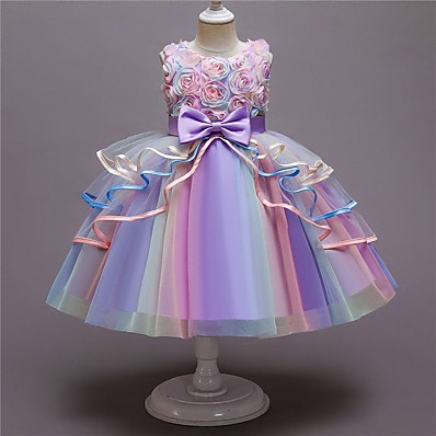 cheap Kids-Kids Little Girls' Dress Flower Party A Line Dress Bow Purple Blushing Pink Light Blue Knee-length Sleeveless Princess Cute Dresses Fall Summer New Year Slim 3-10 Years