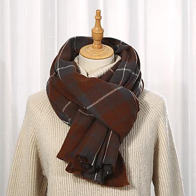 cheap Accessories-Women's Women's Shawls & Wraps Black Christmas Scarf Plaid