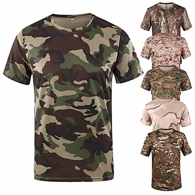 cheap Hunting & Nature-Men's Camo Solid Colored Hunting T-shirt Tee shirt Camouflage Hunting T-shirt Short Sleeve Outdoor Quick Dry Breathable Sweat wicking Wear Resistance Summer Polyester Top Camping / Hiking Hunting