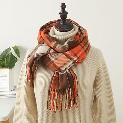 cheap Accessories-Women's Women's Shawls & Wraps Orange Christmas Scarf Plaid