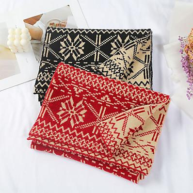 cheap Accessories-Women's Women's Shawls & Wraps Black Christmas Scarf Snowflake