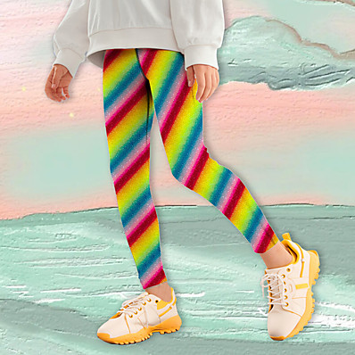 cheap Kids-Kids Girls' Leggings Rainbow Print Patchwork Graphic Active Tights 4-12 Years / Fall