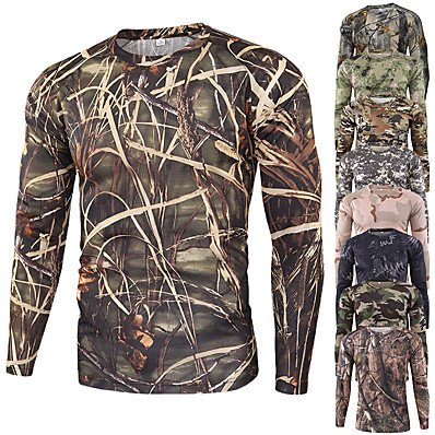 cheap Hunting & Nature-Men's Camo / Camouflage Hiking Tee shirt Camouflage Hunting T-shirt Long Sleeve Outdoor Quick Dry Breathable Soft Sweat wicking Spring Summer Cotton Polyester Top Camping / Hiking Hunting Fishing