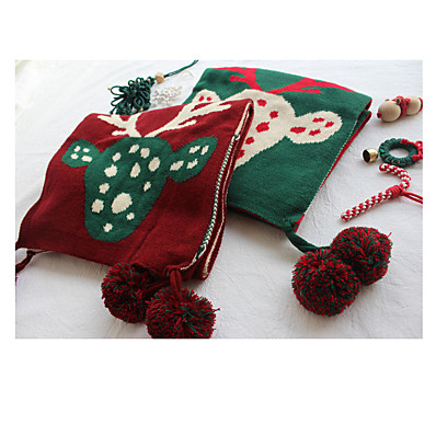 cheap Accessories-Women's Women's Shawls & Wraps Red Christmas Scarf Deer