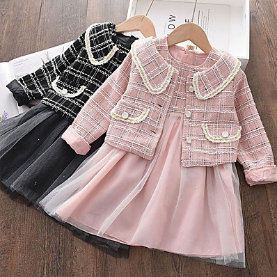cheap Kids-Kids Toddler Girls' Clothing Set Long Sleeve 2 Pieces Blushing Pink Black Mesh Plaid Solid Color Regular Daily Cute 2-8 Years