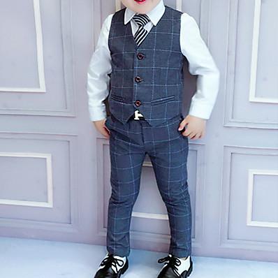 cheap Kids-Kids Boys' Suit & Blazer Suit Vest Clothing Set Children's Day Long Sleeve 3 Pieces Blue Wine Dark Gray Plaid Party Wedding School Regular Outfits Tuxedo Formal 3-8 Years