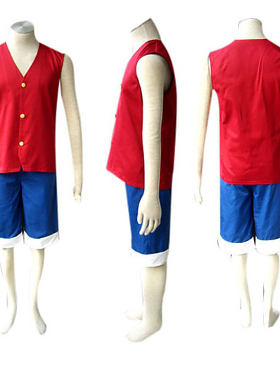 cheap Anime Cosplay-Inspired by One Piece Monkey D. Luffy Anime Cosplay Costumes Japanese Cosplay Suits Patchwork Sleeveless Vest Shorts For Men's