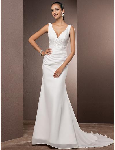cheap WEDDING DRESSES-Sheath / Column Wedding Dresses V Neck Court Train Chiffon Over Satin Regular Straps Vintage Backless Elegant with Side-Draped 2021