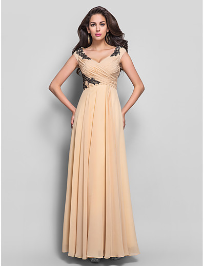 922b7687e3e ADOR Evening Dress Sheath   Column V Neck Floor Length Chiffon Open Back  with Appliques   Criss Cross