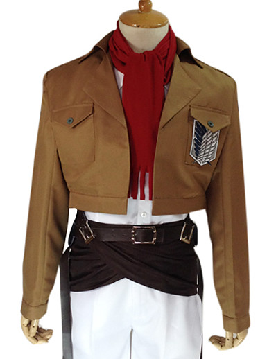 cheap Anime Cosplay-Inspired by Attack on Titan Mikasa Ackermann Anime Cosplay Costumes Japanese Cosplay Suits Solid Colored Long Sleeve Coat Shirt Pants For Men's Women's / Waist Accessory / Belt / Strap / Badge