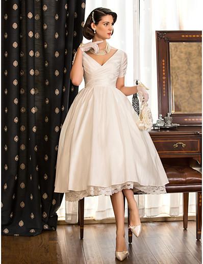 cheap WEDDING DRESSES-A-Line Wedding Dresses V Neck Tea Length Taffeta Short Sleeve Vintage Little White Dress 1950s with Lace Criss Cross 2021