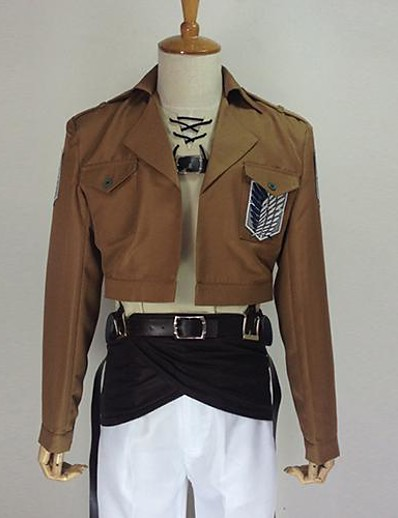 cheap Anime Cosplay-Inspired by Attack on Titan Eren Jager Anime Cosplay Costumes Japanese Solid Colored Cosplay Suits Coat Pants Apron Long Sleeve For Men's / Belt / Badge / Belt / Badge