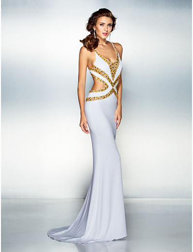940c85c5dcd05 ADOR Prom Dress Mermaid / Trumpet V Neck Sweep / Brush Train Jersey  Beautiful Back with Beading / Crystals