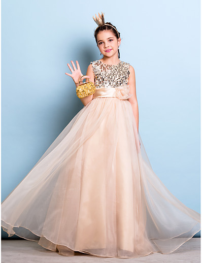 c222679c8 ADOR A-Line Jewel Neck Floor Length Organza / Sequined Junior Bridesmaid  Dress with Sequin / Sash / Ribbon / Flower