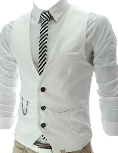 abordables Vêtements d'extérieur pour hommes-Homme gilet Travail Entreprise Couleur Pleine Mince Coton / Polyester Pour des hommes Costume Vin / Blanche / Noir