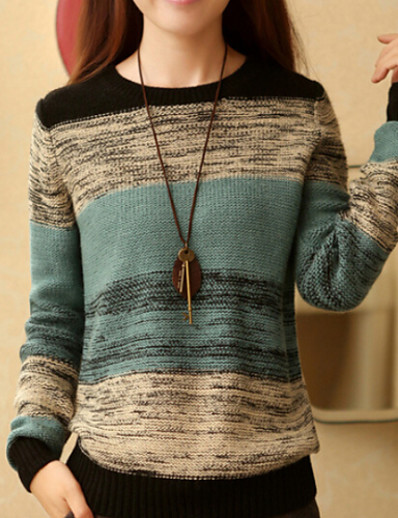 cheap Sweaters & Cardigans-Women's Simple Color Block Pullover Long Sleeve Regular Sweater Cardigans Round Neck Spring Orange Green