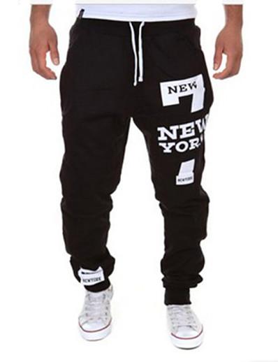 cheap Men's Bottoms-Men's Sporty / Active Sports Weekend Loose wfh Sweatpants Pants - Letter Black / Red Dark Gray Light gray XL XXL XXXL / Drawstring