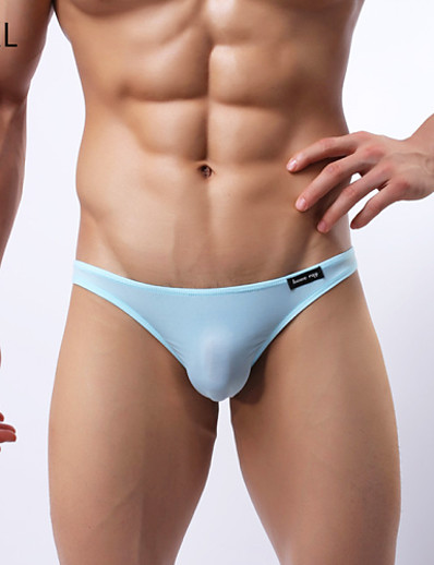 cheap MEN-Men's Silk Super Sexy Briefs Underwear Solid Colored 1 Piece Black Light Blue White M L XL