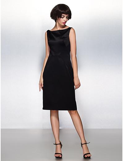 cheap Knee-Length Dresses-Sheath / Column Little Black Dress Cocktail Party Dress Bateau Neck Boat Neck Sleeveless Knee Length Satin with Pleats 2021