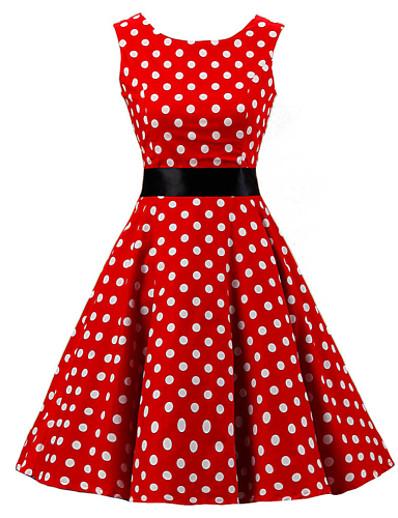 cheap Vintage Dresses-Women's Plus Size Going out Vintage 1950s A Line Dress - Polka Dot Print Spring Cotton Red XXXL XXXXL XXXXXL