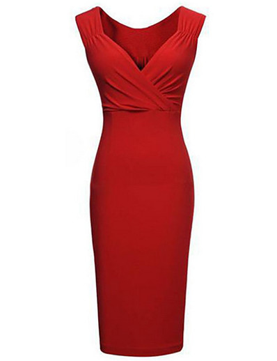 cheap Work Dresses-Women's Plus Size Party Slim Bodycon Dress - Solid Colored Deep V Black Red S M L XL