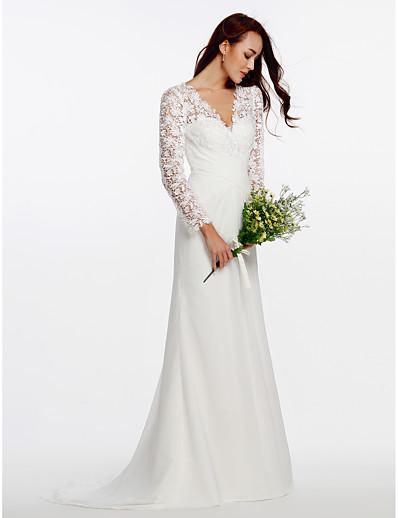 5d494c08e ADOR Sheath / Column V Neck Sweep / Brush Train Chiffon / Floral Lace Wedding  Dresses with Buttons / Lace / Criss-Cross