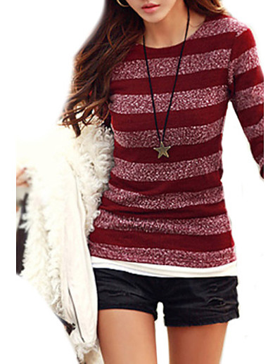 cheap Sweaters & Cardigans-Women's Striped Pullover Cotton Long Sleeve Slim Regular Sweater Cardigans Round Neck Fall Black Red Blue