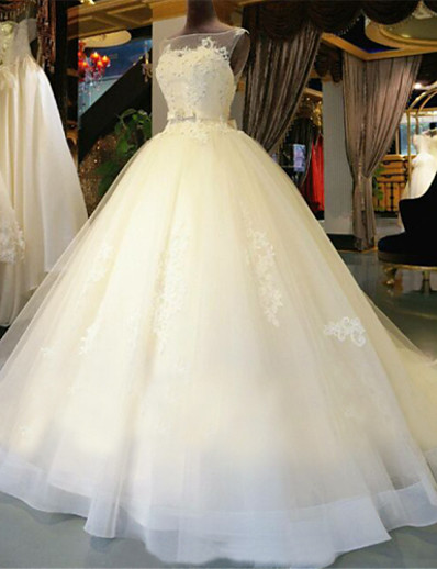 cheap WEDDING DRESSES-Ball Gown Wedding Dresses Scoop Neck Chapel Train Lace Over Tulle Regular Straps Glamorous Illusion Detail Backless with Beading Appliques 2021