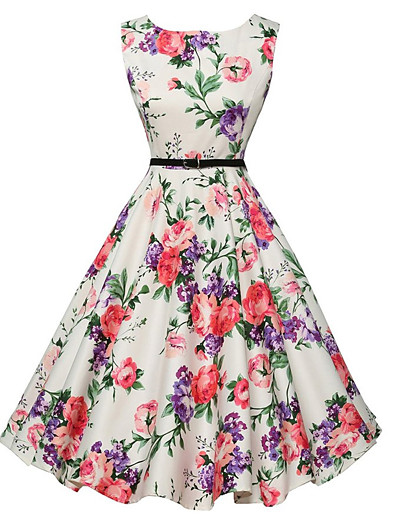 cheap Vintage Dresses-Women's Floral Going out Vintage A Line Dress - Floral White, Print Summer White L XL XXL