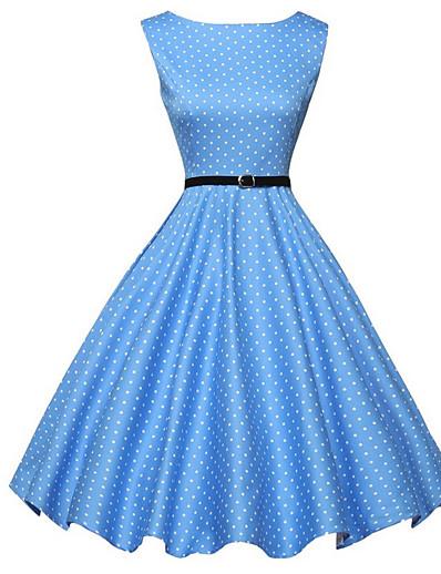 cheap Vintage Dresses-Women's Vintage 1950s A Line Dress - Polka Dot Print Summer Blue L XL XXL