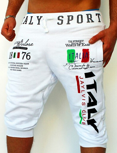 cheap Men's Bottoms-Men's Active Basic Relaxed Sweatpants Shorts Sports Weekend Pants Letter Print Blue White Light gray Black