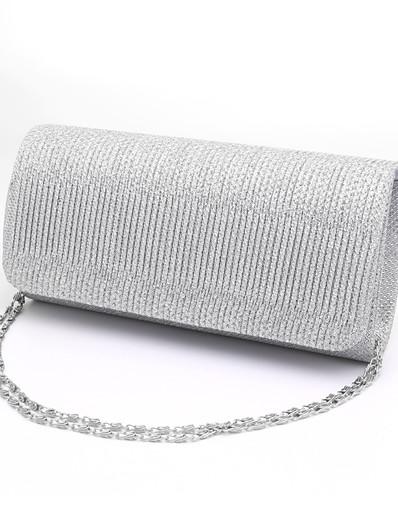 cheap Bags-Women's Ruffles Polyester Evening Bag / Tri-fold Wedding Bags Stripes Black / Silver / Red