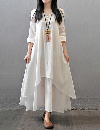 cheap Casual Dresses-Women's Plus Size Daily Casual Chinoiserie Maxi Loose A Line Loose Dress - Solid Colored White, Layered Spring Cotton White Yellow Red M L XL XXL