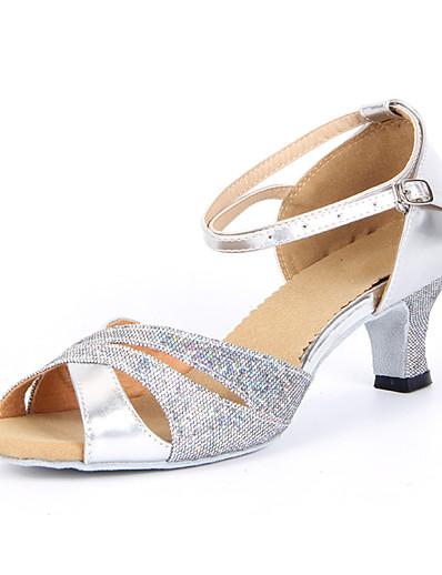 cheap Pumps & Heels-Women's Dance Shoes Sparkling Glitter Latin Shoes / Salsa Shoes Buckle Sandal Chunky Heel Non Customizable Silver / Blue / Gold / Suede / EU42