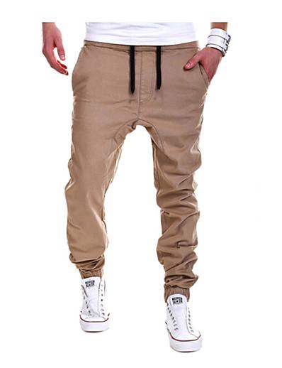 cheap Men's Bottoms-Men's Basic Sport Daily Casual Straight / wfh Sweatpants Pants - Solid Colored Cotton Spring Fall Black Gray Khaki XL XXL XXXL
