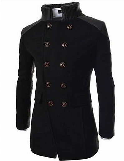 cheap Men's Outerwear-Men's Trench Coat Overcoat Fall Winter Daily Work Long Coat Stand Collar Jacket Long Sleeve Color Block Gray Black Navy Blue / Double Breasted / Cotton