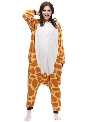 cheap Kigurumi Pajamas-Kigurumi Pajamas Nightwear Camouflage Adults' Animal Giraffe Onesie Pajamas Polar Fleece Orange Cosplay For Men and Women Animal Sleepwear Cartoon Festival / Holiday Costumes / Leotard / Onesie