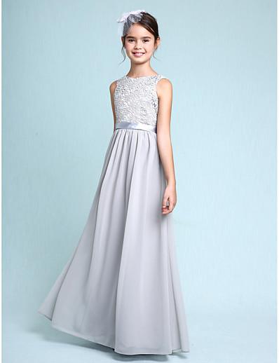 72d38d7330cf2 ADOR Sheath / Column Bateau Neck Floor Length Chiffon / Lace Junior  Bridesmaid Dress with Lace