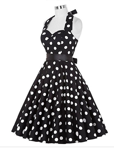 cheap Vintage Dresses-Women's Going out Vintage A Line Dress - Polka Dot Halter Neck Summer White Black L XL XXL