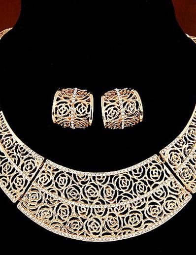 preiswerte Gürtel-Damen Schmuckset Kreolen Halskette / Ohrringe Retro Ohrringe Schmuck Golden / Silber Für Normal Alltag