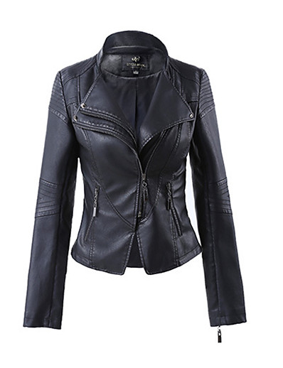 cheap BEST SELLERS-Women's Daily Spring / Fall Short Leather Jacket, Solid Colored V Neck Long Sleeve PU White / Black / Wine